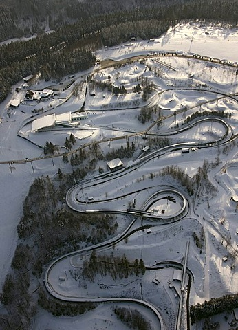 Aerial photo, bob run, snow, Winterberg, Kahler Asten, Hochsauerlandkreis, Sauerland, North Rhine-Westphalia, Germany, Europe