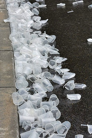 Plastic cups, garbage