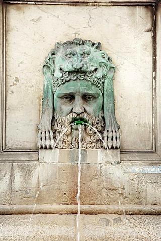Gargoyle at fountain, Place de la Republique, Arles, Bouches-du-Rhone, Provence-Alpes-Cote d'Azur, Southern France, France, Europe