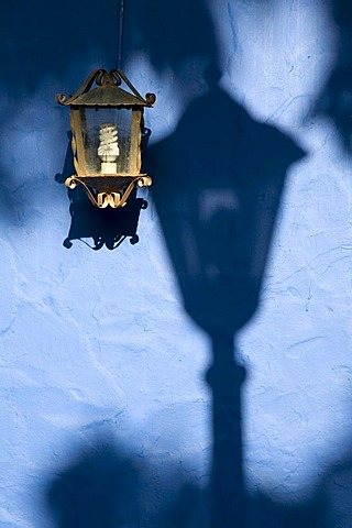 Lantern with an energy saving bulb, Coro, UNESCO World Heritage Site, Venezuela, South America