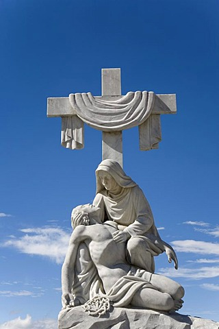 Jesus under the cross, statue, main cemetery of Merida, Venezuela, South America