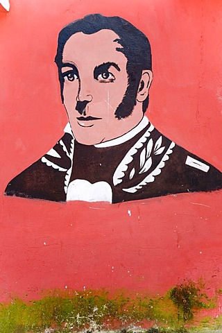 Graffiti of the young Bolivar, Santo Domingo, Venezuela, South America