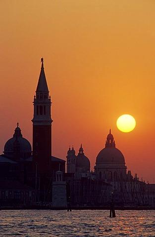 Church of San Giorgio Maggiore and the Basilica di Santa Maria della Salute at sunset, Venice, Italy, Europe