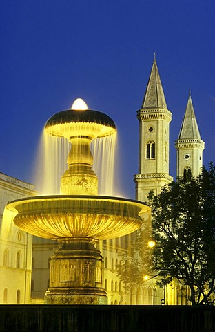 Fountain in front of the University and Ludwigskirche Church, Munich, Bavaria, Germany, Europe