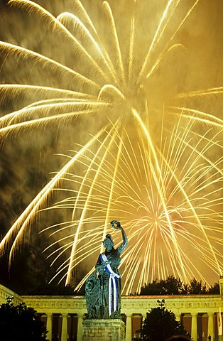 Fireworks over the Bavaria statue during Oktoberfest, Munich, Bavaria, Germany, Europe - 832-247395