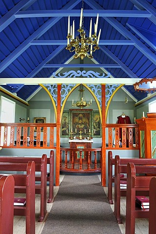 Interior view of the church in the open air and local history museum in Skogar, Byggasafni i Skogum, Iceland, Europe