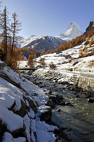 Matterhorn above the Mattervispa river, Zermatt, Valais, Switzerland, Europe