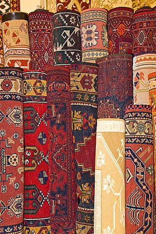Various carpets in a carpet production, Cappadocia, Central Anatolia, Turkey, Asia