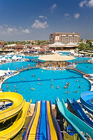 Pool landscape with water slides in Selge Beach Resort on the Turkish Riviera, Turkey, Asia