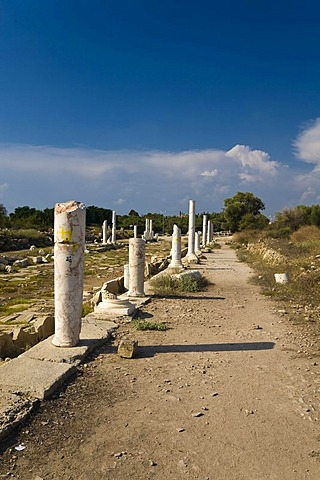 Row of columns, roman ruins in Side, Turkish Riviera, Turkey, Asia