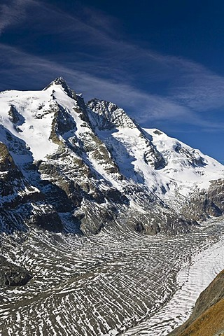Mount Grossglockner, 3798 metres, with the Pasterze Glacier, glacier tongue, Hohe Tauern National Park, Carinthia, Austria, Europe