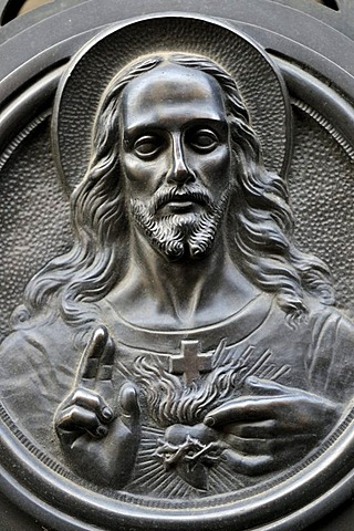 Jesus with blessing gesture at the La Recoleta cemetery, Buenos Aires, Argentina