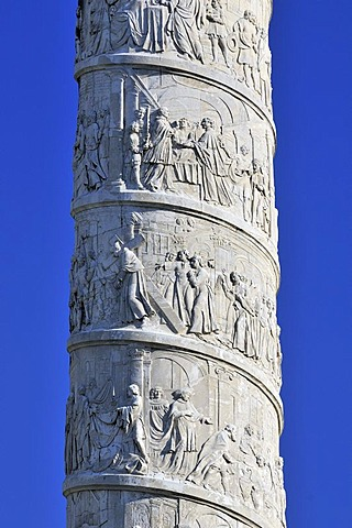 Column carved with biblical scenes, St. Charles's Church, Karlskirche, Vienna, Austria, Europe