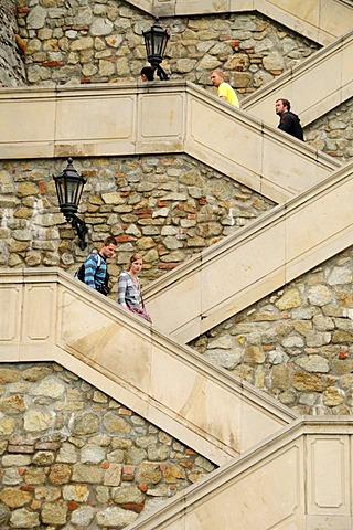 Steps leading to Bratislava Castle or Pressburg Castle, Bratislavsk˝ hrad, Bratislava, former Pressburg, Slovakia, Europe