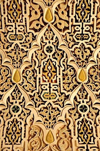 Ceiling decoration in the Bahia Palace, Marrakesh, Morocco, Africa