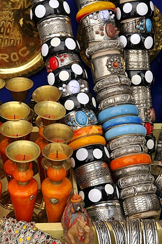 Typical jewellery at the souk, market, in the medina quarter of Marrakesh, Morocco, Africa
