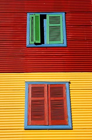 Colourful facade in the tourist alley Caminito in the dockland area La Boca, Buenos Aires, Argentina, South America