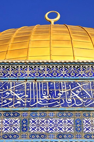 Golden cupola of the Dome of the Rock, Qubbet es-Sakhra, on the Temple Mount, Israel, Near East, Orient