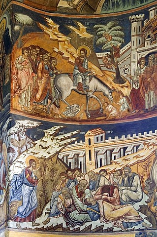 Naos of the Church of St Nicholas of the Probota Monastery, frescoes with biblical scenes and legends, UNESCO World Heritage Site, South Bucovina, Moldavia, Romania, Europe