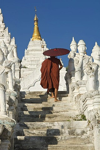 Settawya Pagoda, young Buddhist monk with a red umbrella, Mingun, Burma, Myanmar, South East Asia