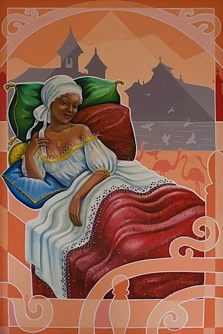 Painting of the famous slave courtesan Chica da Silva, Diamantina, Minas Gerais, Brazil, South America - 832-250761