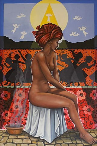 Painting of the famous slave courtesan Chica da Silva, Diamantina, Minas Gerais, Brazil, South America