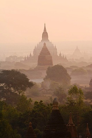 Temples and pagodas in early morning fog, Bagan, Myanmar