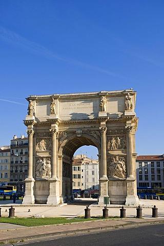 Triumphal arch, Marseille, Provence Cote d'Azur, France, Europe, PublicGround