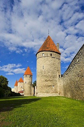 Town wall, towers, Tallinn, Estonia, Baltic States, North-East Europe