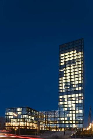 Skyscraper, Sueddeutsche Zeitung Publishing Company at dusk, Munich, Bavaria, Germany, PublicGround