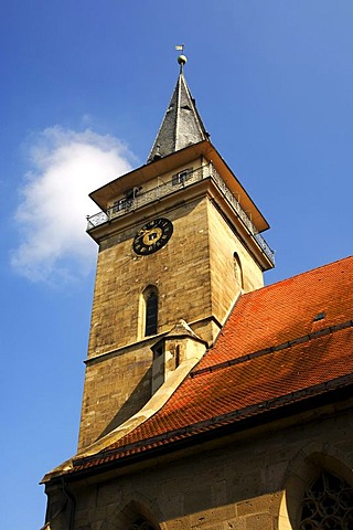 Blasturm, tower of the Collegiate Church of St. Peter und Paul, Oehringen, Baden-Wuerttemberg, Germany, Europe