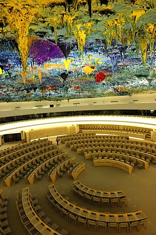Human Rights and Alliance of Civilizations Room at the Palais des Nations, domed ceiling designed by Miquel Barcelo, UNO, United Nations Office in Geneva, Switzerland, Europe