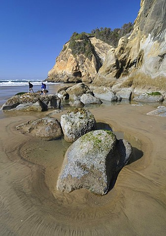 Beach, rocks, Hug Point State Park, Oregon, USA, North America