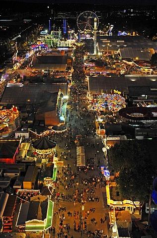 Night shot of Cannstatter Volksfest, Stuttgart, Baden-Wuerttemberg, Germany, Europe