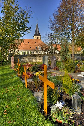 Cemetery and church in a district of Siegelhausen near Marbach on the Neckar, Baden-Wuerttemberg, Germany, Europe
