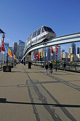 Monorail railway on Pyrmont Bridge in Darling Harbour, Sydney, Australia