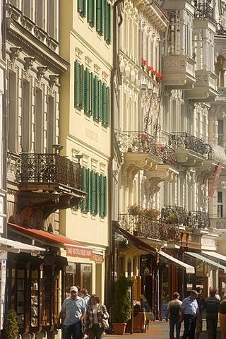 """""""Old Meadow""""street, Karlovy Vary, Karlsbad, West Bohemia, Czech Republic, Europe"""