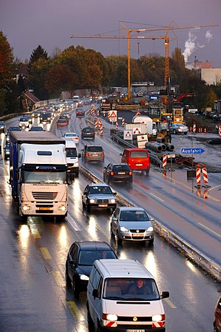 Rush hour on the A40 motorway, at a building site, near Bochum, North Rhine-Westphalia, Germany, Europe