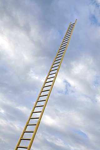 Golden ladder soaring into the clouded sky, Duisburg, North Rhine-Westphalia, Germany, Europe