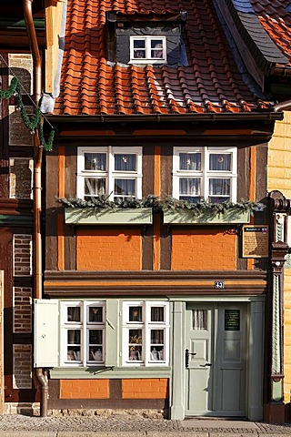 Smallest frame house, 2.95m wide, Kochstrasse, Wernigerode old town, Harz, Saxony-Anhalt, Germany, Europe