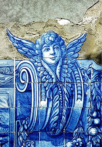 Angel, winged head, tile picture, Azulejo, Lisbon, Portugal, Europe
