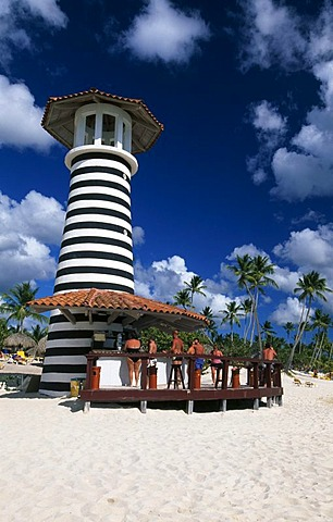 Beach bar on a palm beach in Bayahibe, Dominican Republic, Caribbean