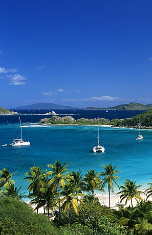 Yachts in a bay at Peter Island, British Virgin Islands, Caribbean