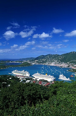 Cruise ships at Charlotte Amalie, St. Thomas Island, United States Virgin Islands, Caribbean