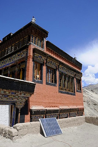 Thikse Monastery, solar panels with a glowing lamp, Ladakh, Jammu and Kashmir, North India, Himalayas, Asia
