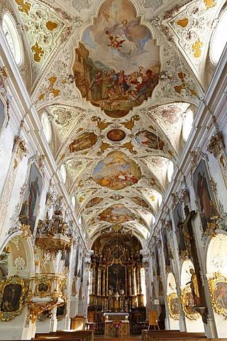 Interior view of St. Martin's parish church in Fischbachau, Upper Bavaria, Bavaria, Germany, Europe