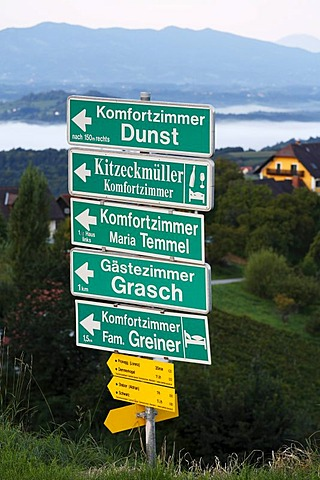 Direction signs for accomodation facilities, Kitzeck im Sausal, Sausaler Weinstrasse, wine-growing area, Styria, Austria, Europe