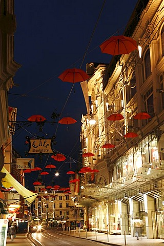 Work of art with red umbrellas in Sackstrasse street, historic city centre of Graz, Styria, Austria, Europe