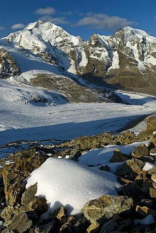 Bernina Range with Mount Piz Bernina, 4048 metres above sea level, and Mount Piz Morteratsch, 3751 metres above sea level, Buendner Alps, Canton of Graubuenden, Switzerland, Europe