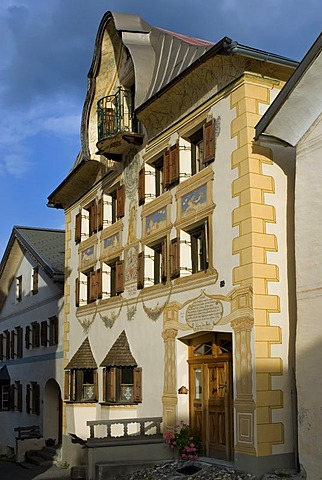 Residential house with Sentner Gable and sgraffito, adornment, Sent, Lower Engadin, Canton of Graubuenden, Switzerland, Europe